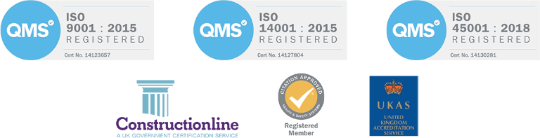 Certified by Constructionline; Registered ISO 14001 (2015), ISO 45001 (2018), ISO 9001 (2015)